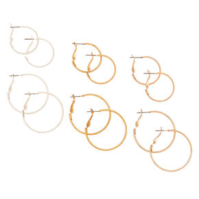 Mixed Metal Hoop Earrings - 6 Pack,