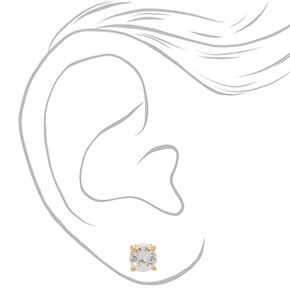 18kt Gold Plated Cubic Zirconia Round Stud Earrings - 8MM,