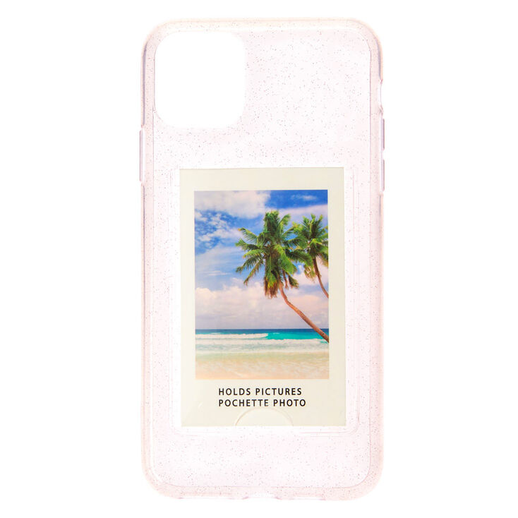 Clear Glitter Instax Mini Pocket Protective Phone Case - Fits iPhone 11 Pro Max,