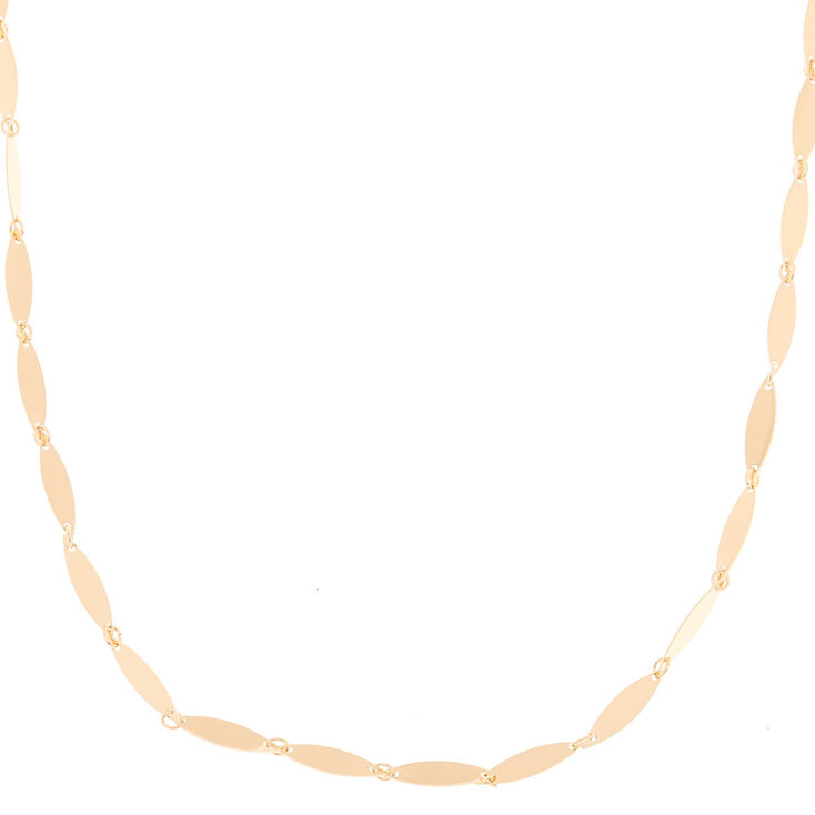 Gold Shiny Leaf Chain Necklace,