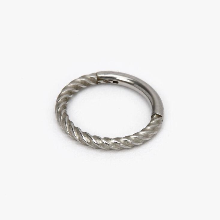 Silver 16G Twist Hoop Nose Ring,
