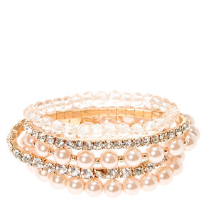Rose Gold Embellished Stretch Bracelets,