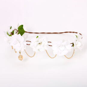 Gold Chain Flower Vine Headwrap - White,