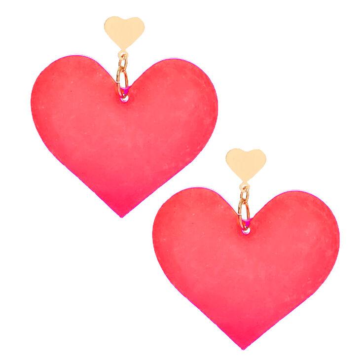 """Gold 2"""" Heart Drop Earrings - Red,"""