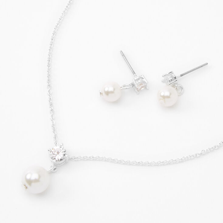 Silver Embellished Pearl Jewelry Set - 2 Pack,