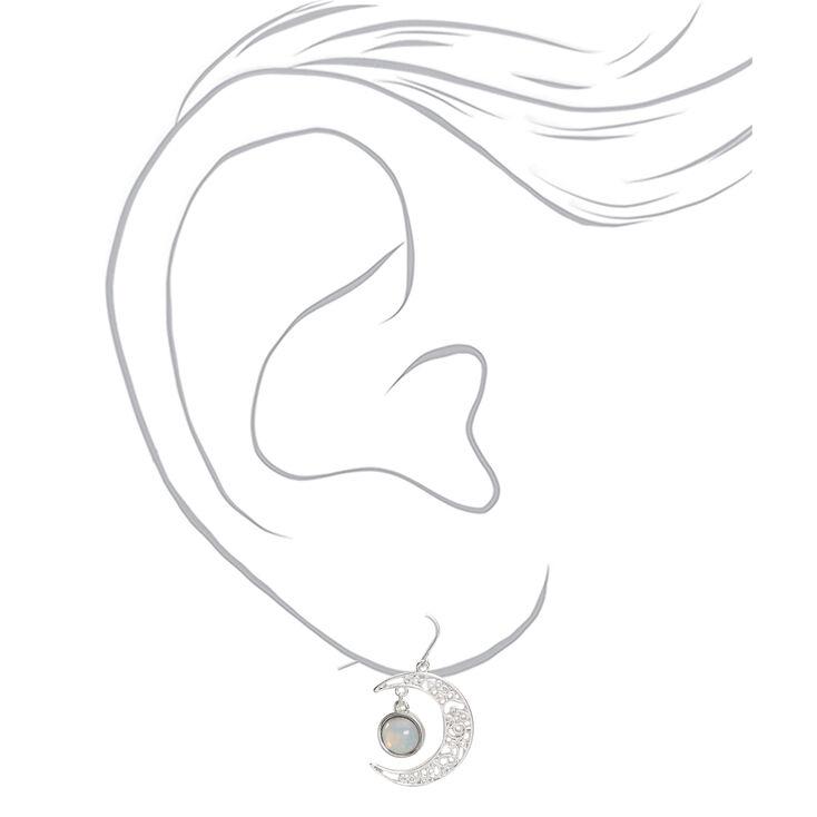 """Silver 1"""" Opal Stone Crescent Moon Drop Earrings,"""