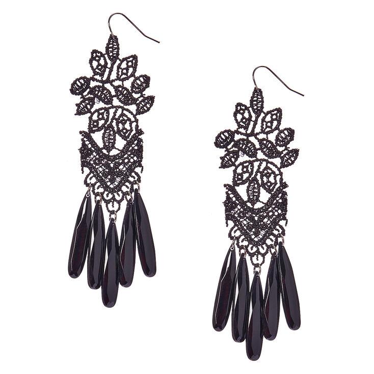 Black Crochet & Beads Drop Earrings.,