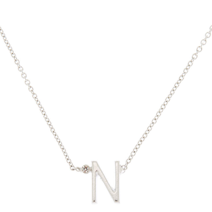 Silver Stone Initial Pendant Necklace - N,