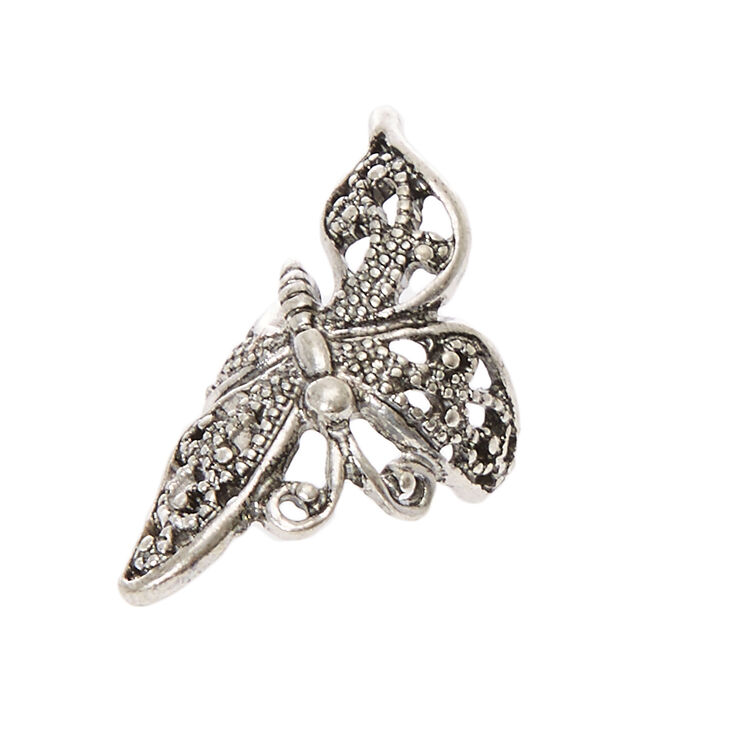 Silver Tone Filigree Butterfly Ear Cuff,