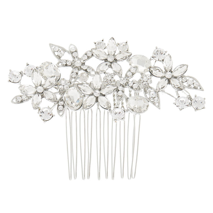 Edwardian Jewelry   Downton Abbey Earrings, Necklaces, Rings Icing Silver Rhinestone Bouquet Hair Comb $14.99 AT vintagedancer.com