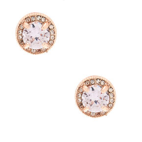 Rose Gold Cubic Zirconia Stud Earrings,
