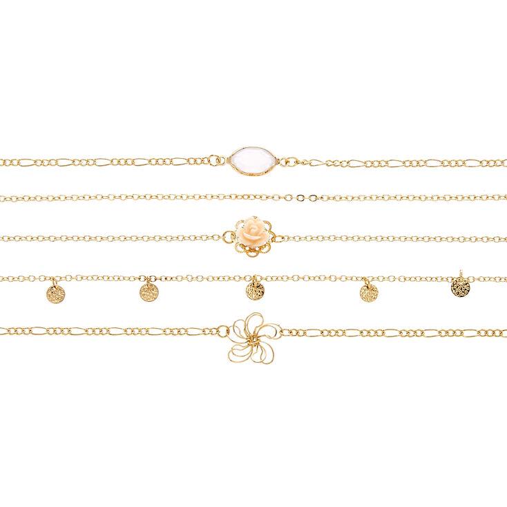 Multi-Floral Chain Choker Set,