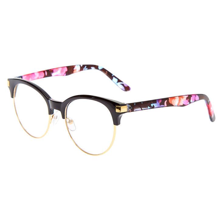 Gold Floral Browline Clear Lens Frames - Black,