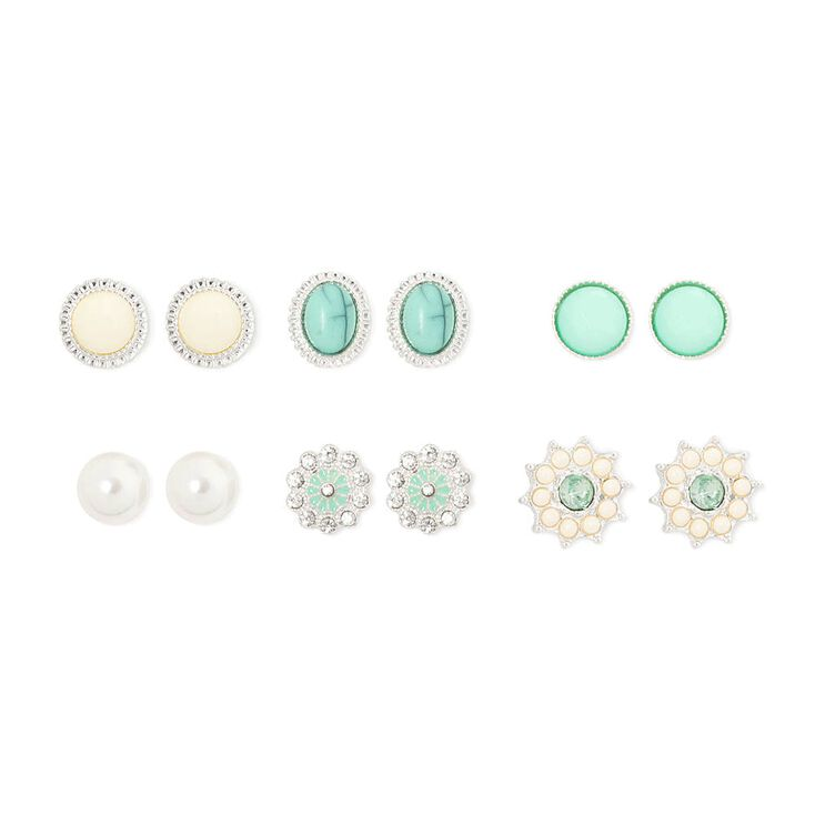 Mint Green, Ivory & Crystal Vintage Button Stud Earrings  - 6 Pack,