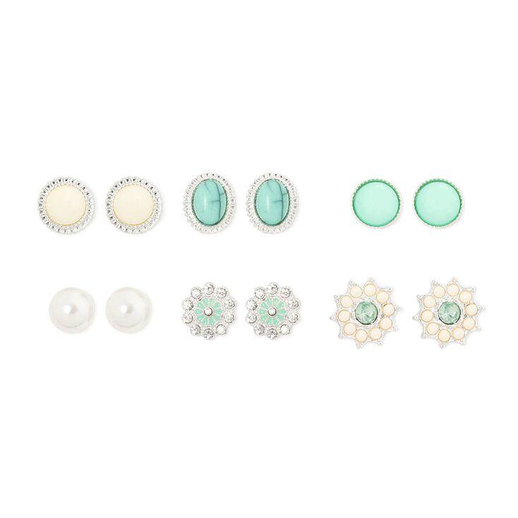 Mint Green Ivory Crystal Vintage On Stud Earrings Set