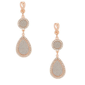 "Rose Gold 2"" Glitter Drop Earrings,"