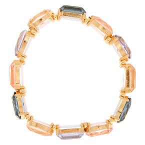 Gold Geometric Stone Stretch Bracelet,