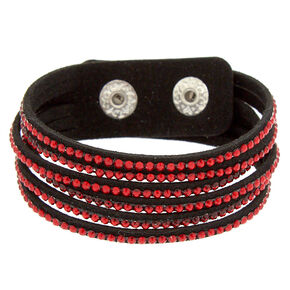 Studded Layered Statement Bracelet - Red,