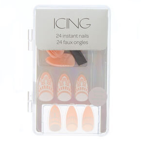 Henna Faux Nail Set - Nude, 24 Pack,
