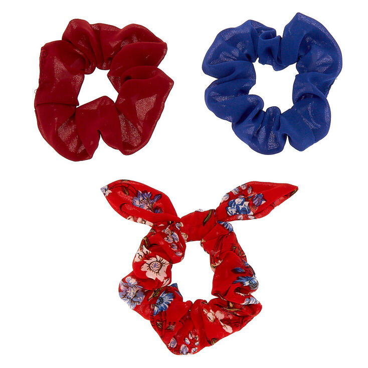 Small Floral Hair Scrunchies - Red, 3 Pack,