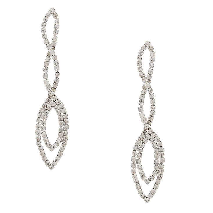 "3"" Teardrop Rhinestone Drop Earrings,"