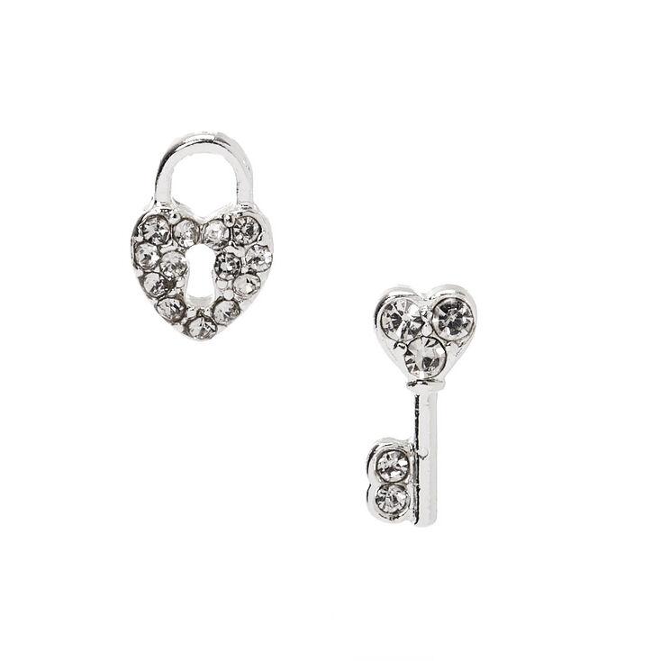 Silver Embellished Lock & Key Stud Earrings,