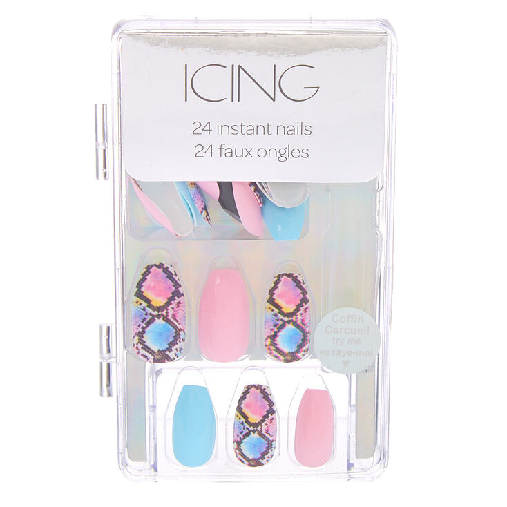 Pastel Mixed Snakeskin Coffin Faux Nail Set - 24 Pack,
