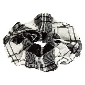 Black & White Plaid Hair Scrunchie,