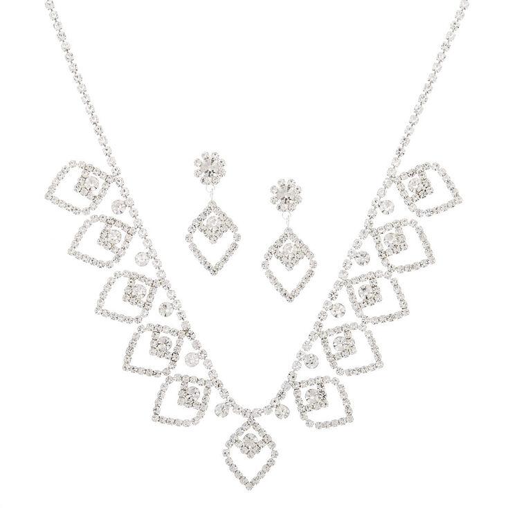 Silver Rhinestone Pointed Petal Jewelry Set - 2 Pack,