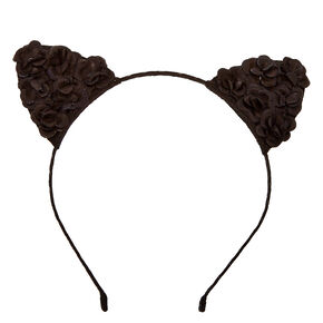 Black Flower Cat Ears Headband,