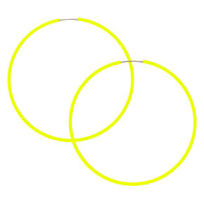 60MM Neon Hoop Earrings -  Yellow,