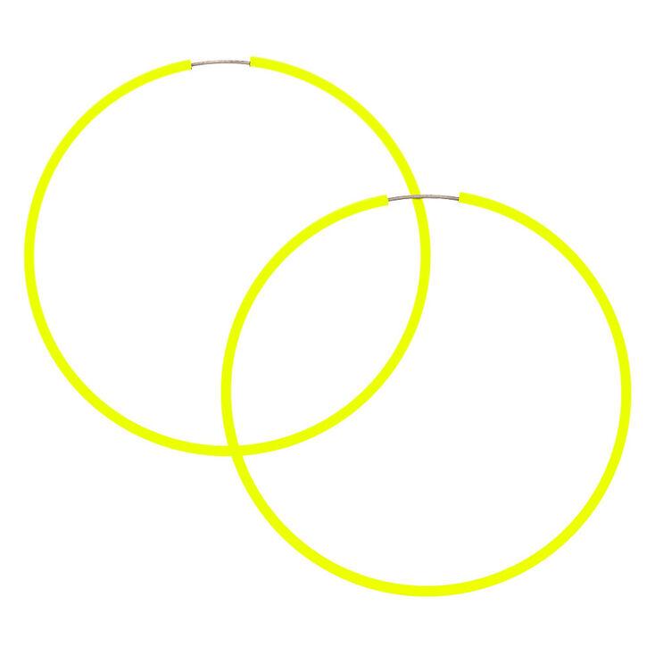 60MM Neon Hoop Earrings -  Yellow,