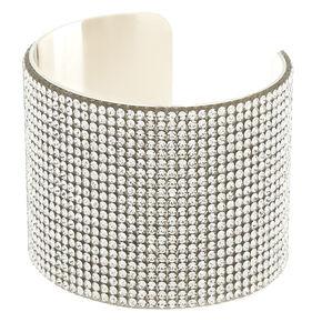 Silver Glass Rhinestone Wide Cuff Bracelet,