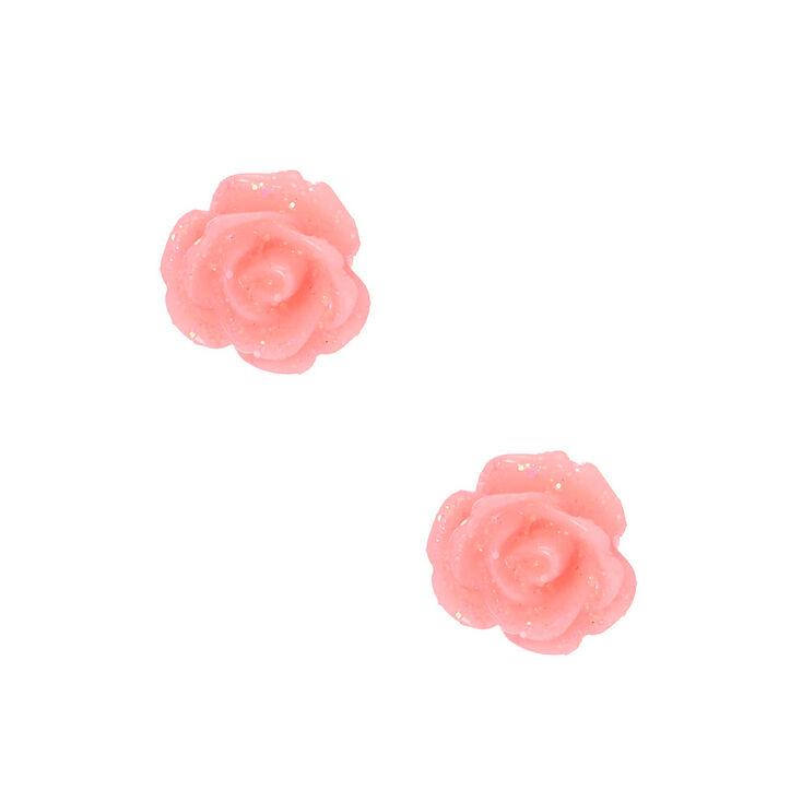 Sterling Silver Glitter Rose Stud Earrings - Pink,