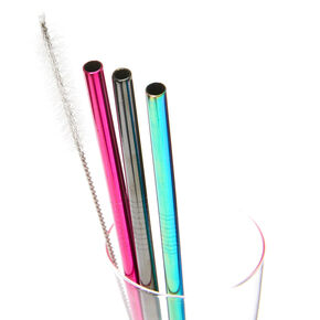 Rainbow Anodized Stainless Steel Straws - 3 Pack,
