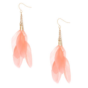 """Gold 3"""" Feather Drop Earrings - Pink,"""