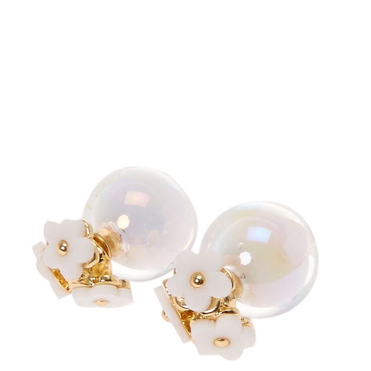 White Flower  Trio Front & Back Earrings,
