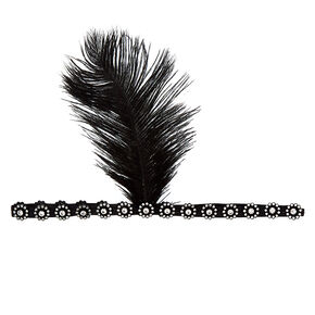 Feather Flapper Headwrap - Black,