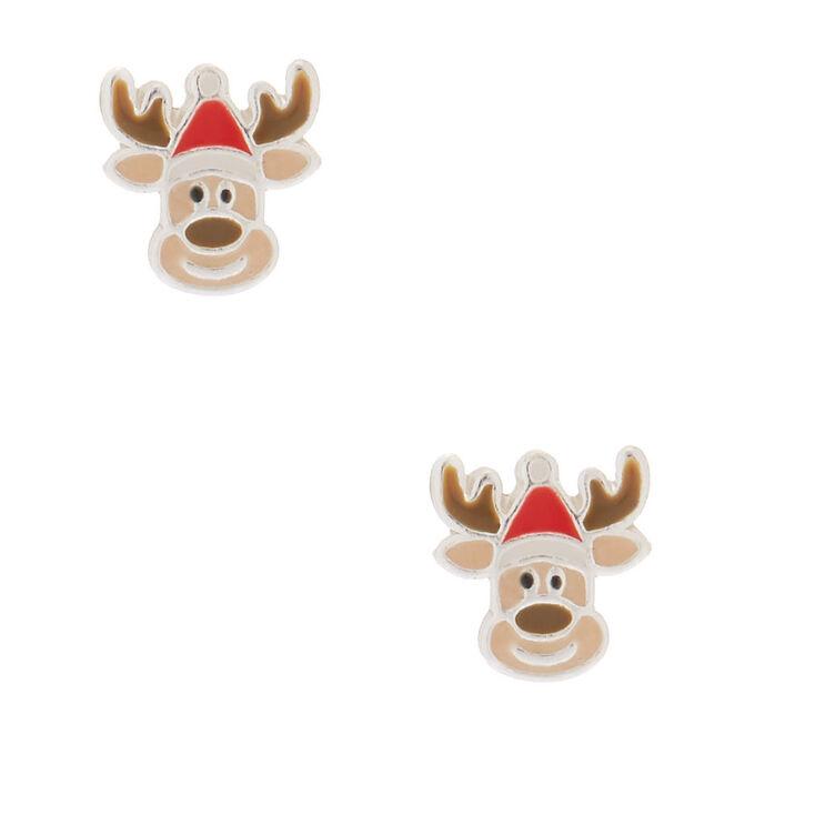 Sterling Silver Reindeer Stud Earrings,