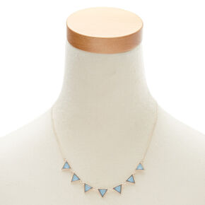 Blue Triangle Statement Necklace and Earrings Set,