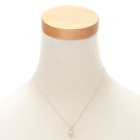 Rose Gold Pearl Pear Pendant Necklace,