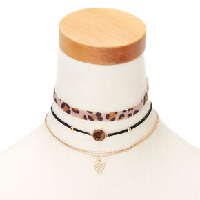 Leopard Choker Necklaces - 3 Pack,