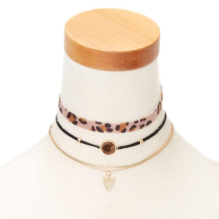 Leopard Choker Necklaces - 3 Pack,