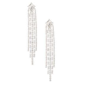 """Silver Rhinestone 3.5"""" Art Deco Linear Drop Earrings,"""