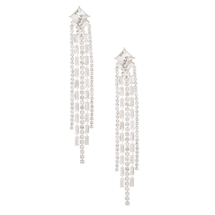 Vintage Style Jewelry, Retro Jewelry Icing Silver Rhinestone 3.5 Art Deco Linear Drop Earrings $19.99 AT vintagedancer.com