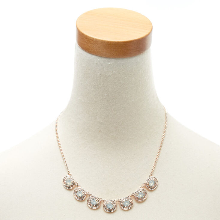 Oval Mint Stone Rose Gold Necklace,