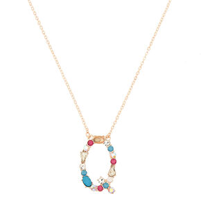 Embellished Long Initial Pendant Necklace - Q,
