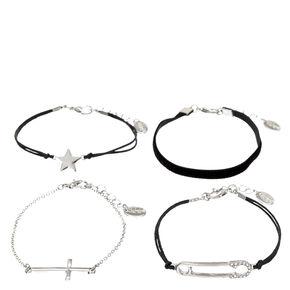 4 Pack Black & Silver-Tone Charm Bracelets,
