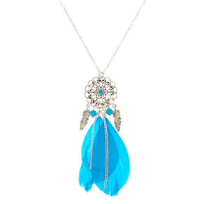 Silver Filigree Dreamcatcher Long Pendant Necklace - Teal,