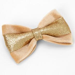 Gold Glitter Velvet Hair Bow Clip - Tan,